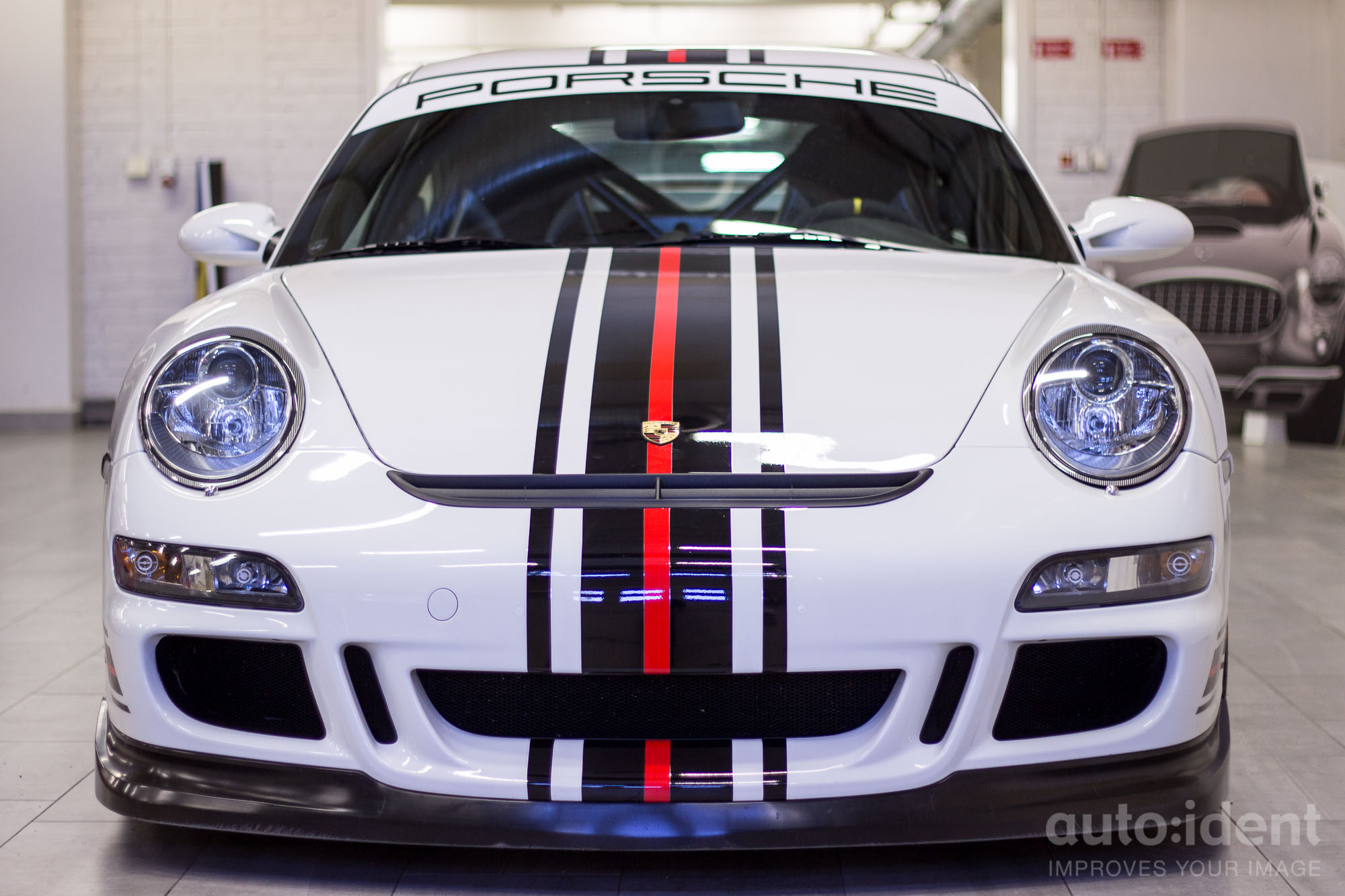 Porsche 911 Gt3 White With Black And Red Stripes Autoident